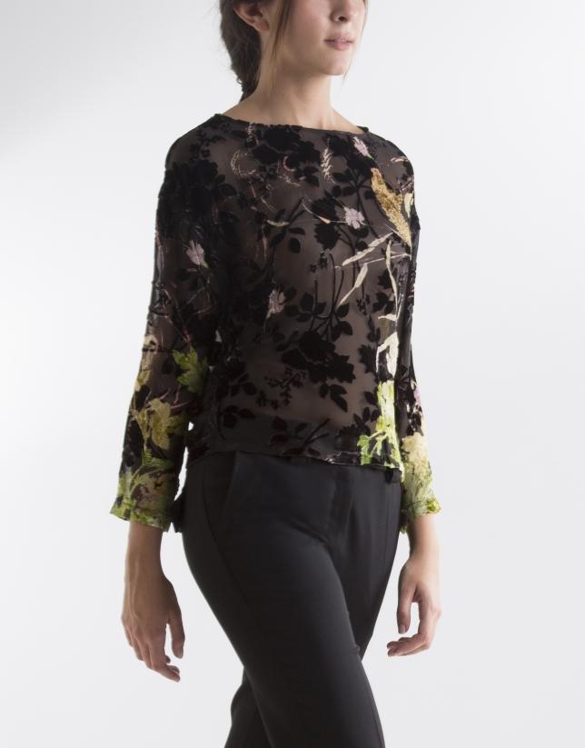 T-shirt floral avec transparences