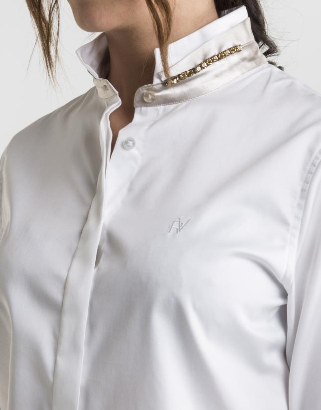 White shirt with Mao collar