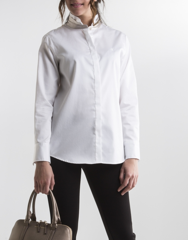 White shirt with Mao collar