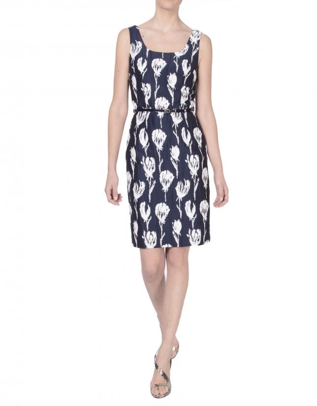 Floral print jacquard dress