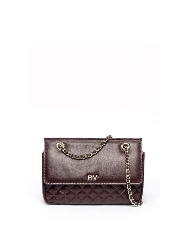 Burgundy leather Ghauri shoulder bag