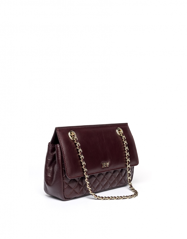 Sac shoulder Ghauri en cuir bordeaux