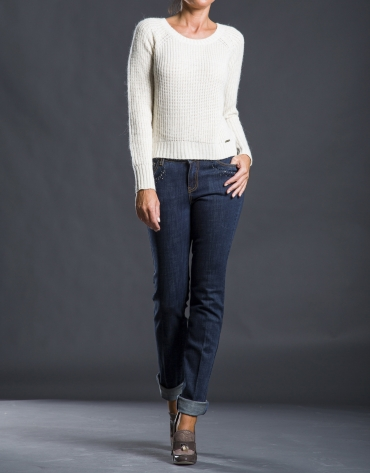 Beige knit sweater with trim