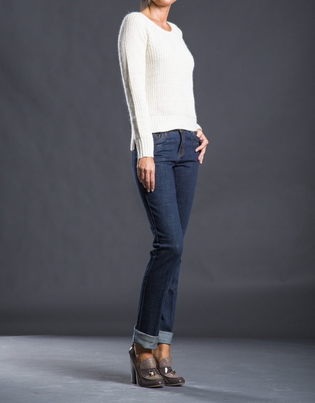 Beige knit sweater with trim