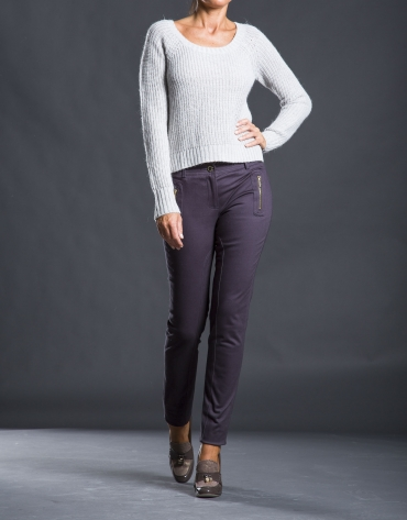 Gray knit sweater with trim
