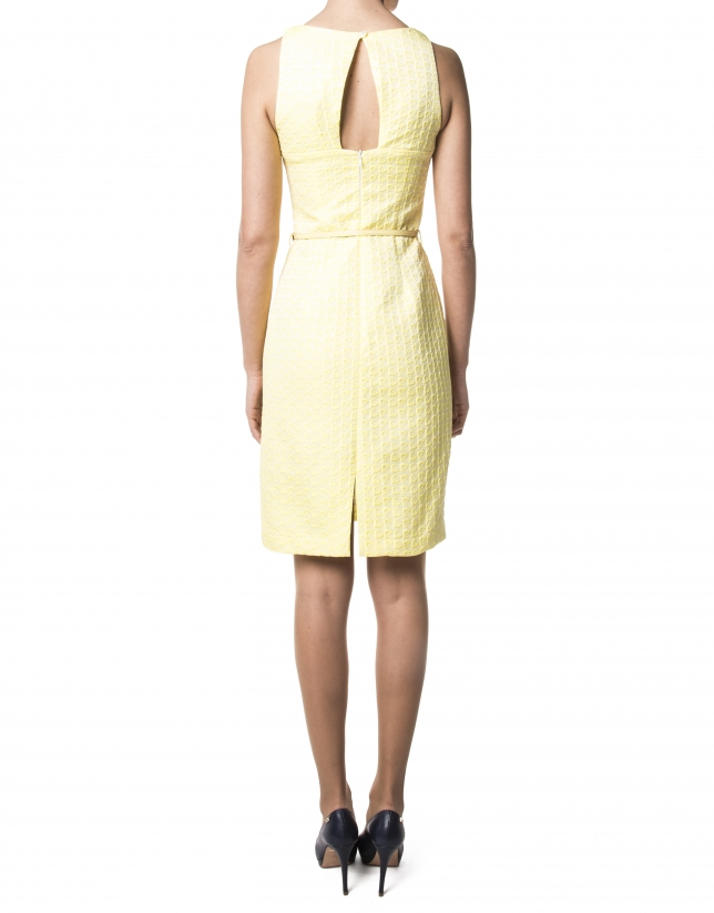 Yellow jacquard dress with open back