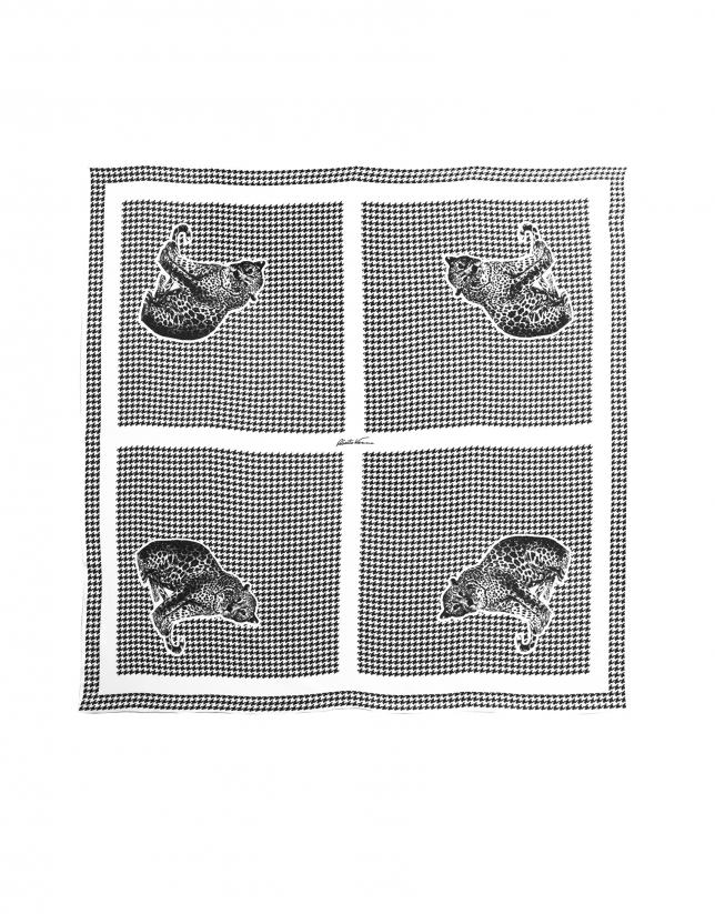 Foulard, imprimé pied de poule