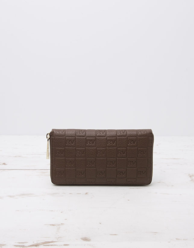 Brown billfold with logo