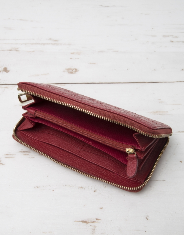 Red billfold with logo