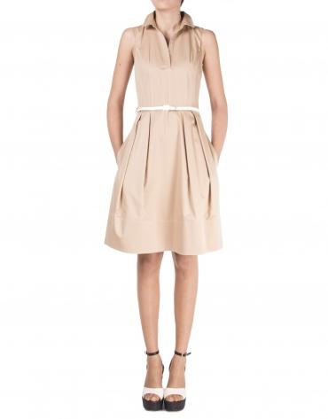 Camel shirtwaist dress