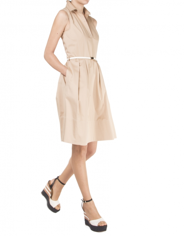 Camel shirtwaist dress