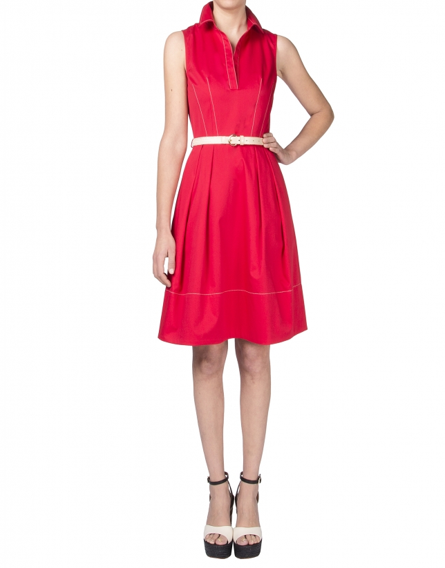 Red shirtwaist dress