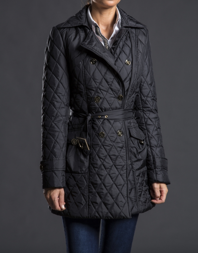 Black, quilted, double-breasted trench coat