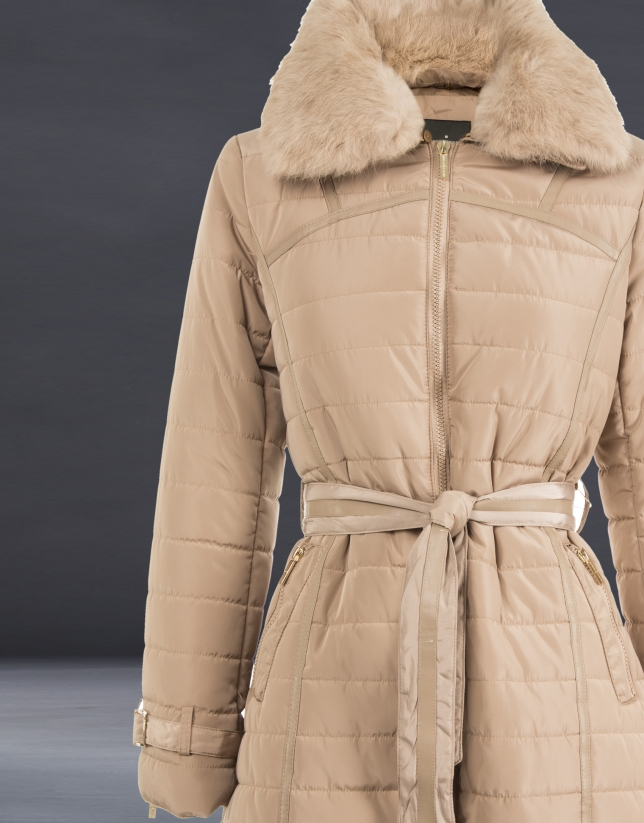 Long beige quilted trench coat