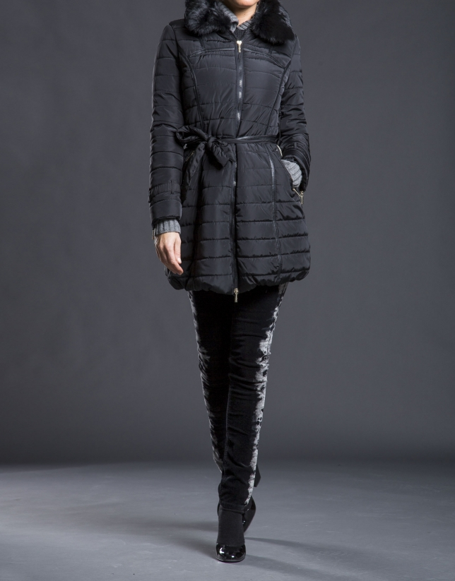 Trench long matelassé noir