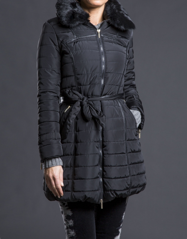 Long black quilted trench coat