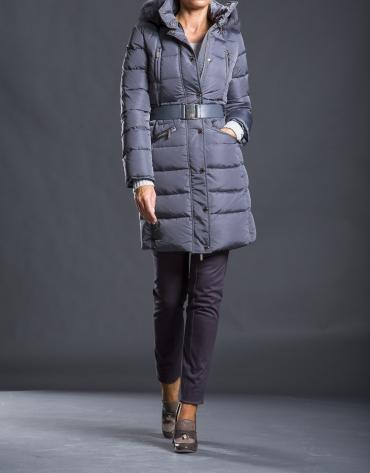 Plumífero largo gris capucha
