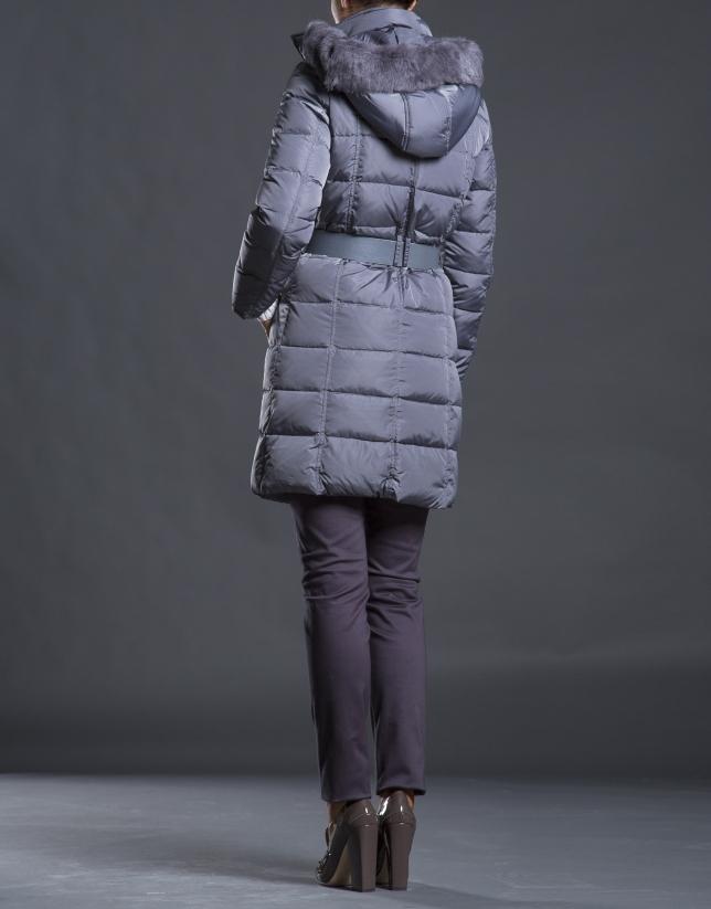 Manteau duvet long capuche gris