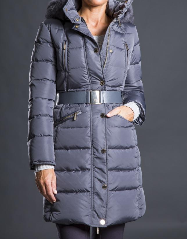 Long gray ski jacket with hood