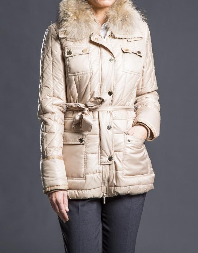 Short beige raccoon trench coat