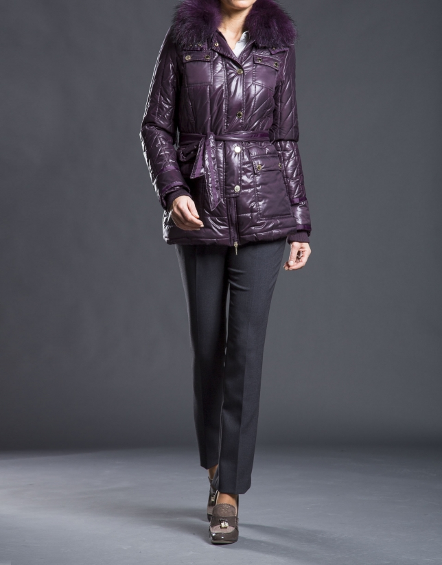 Short aubergine raccoon trench coat