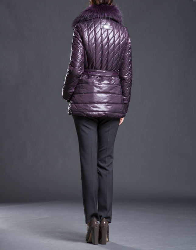 Short aubergine raccoon trench coat