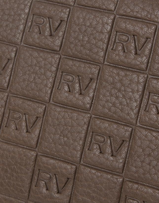 Brown cowhide leather vanity case