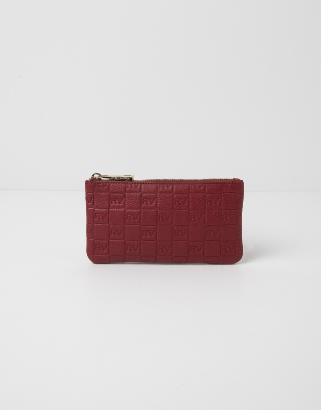 Red cowhide leather vanity case