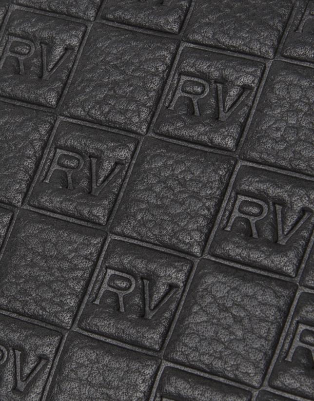 Black cowhide leather vanity case
