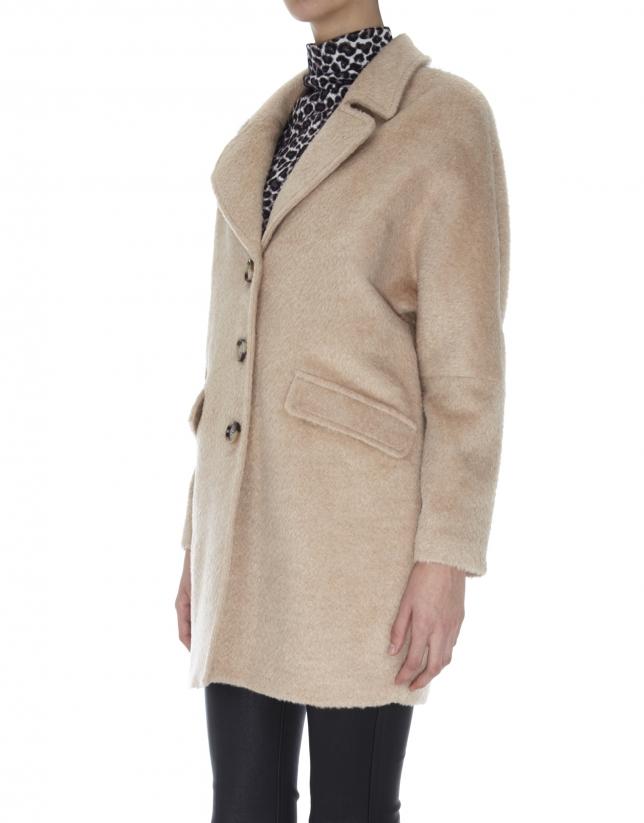Beige coat with wool and alpaca lapels