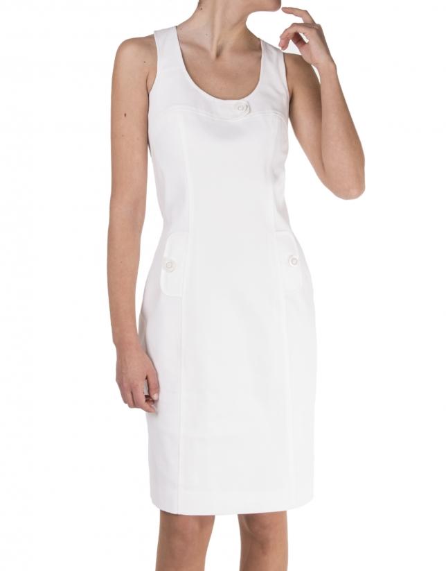 Vestido tirantes blanco roto