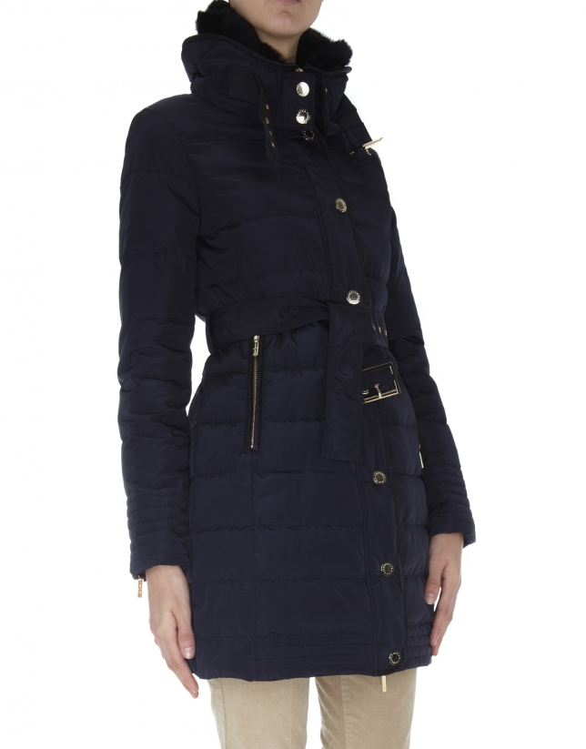 Long midnight blue ski jacket with fur collar