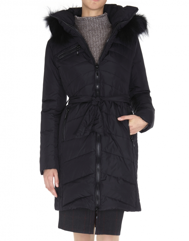 Long black ski jacket with hood