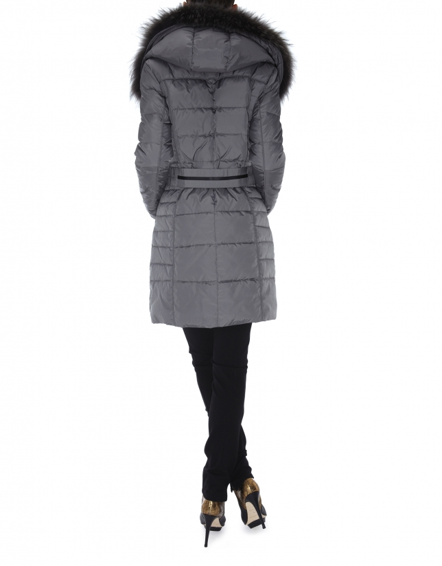 Long black ski jacket with matching raccoon collar