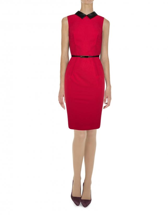 Vestidos sisas rojo cuello piel