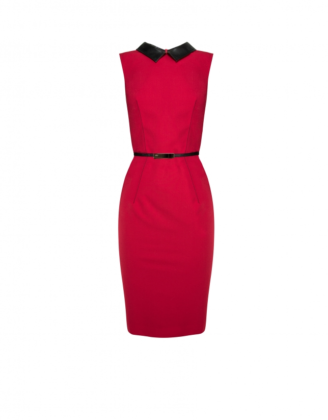 Red sleeveless dress with leather collar