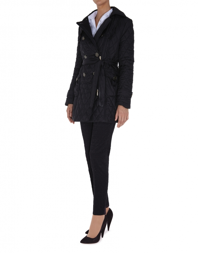 Black diamond print quilted trench coat