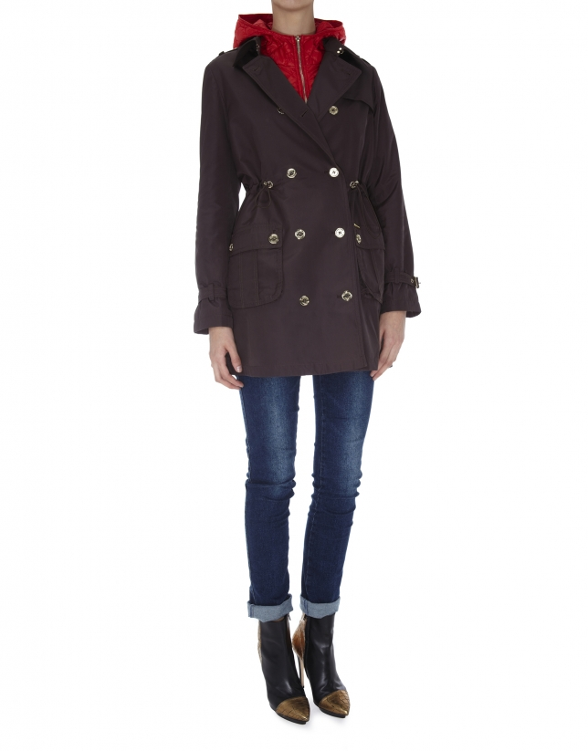 Brown trench coat with detachable red lining