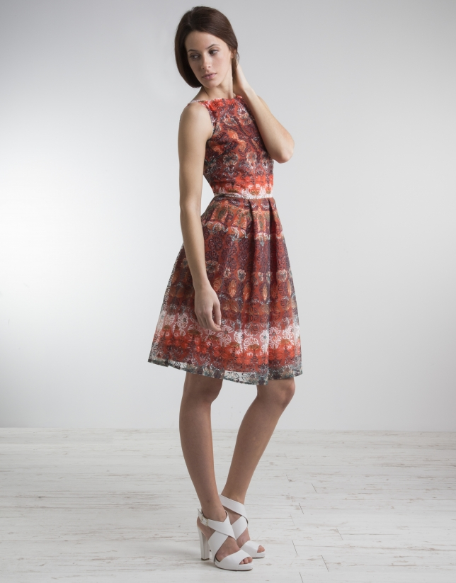 Print dress with full skirt