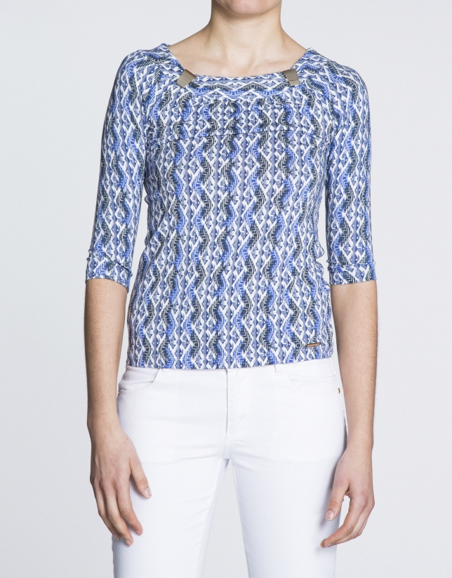 Geometric print boat neck top