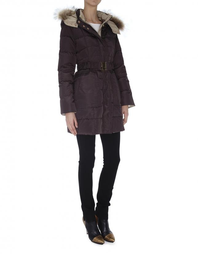 Brown / beige reversible  long ski jacket