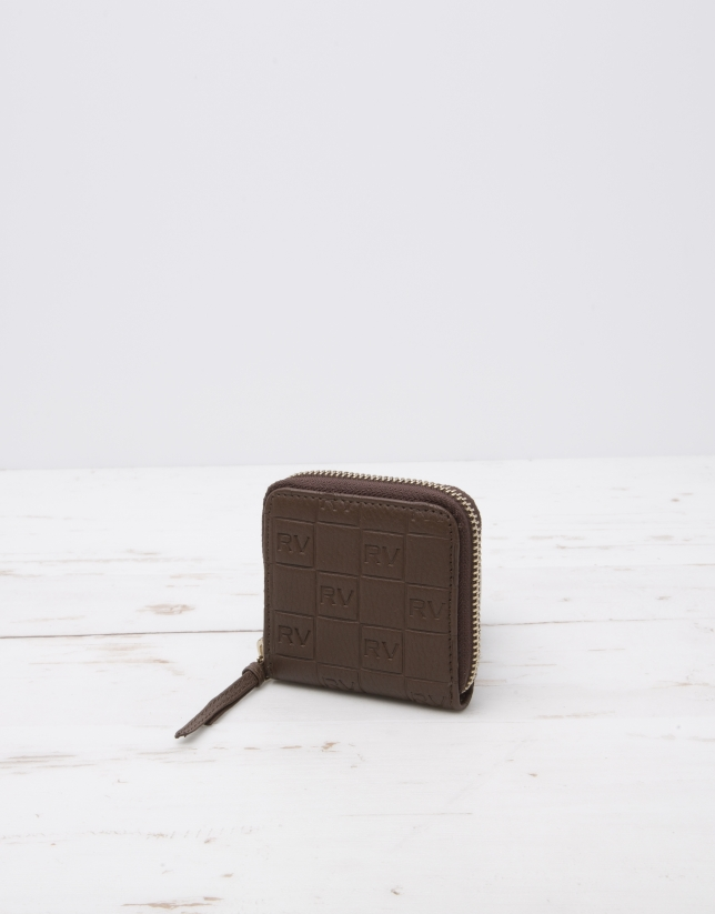 Brown change purse with logo
