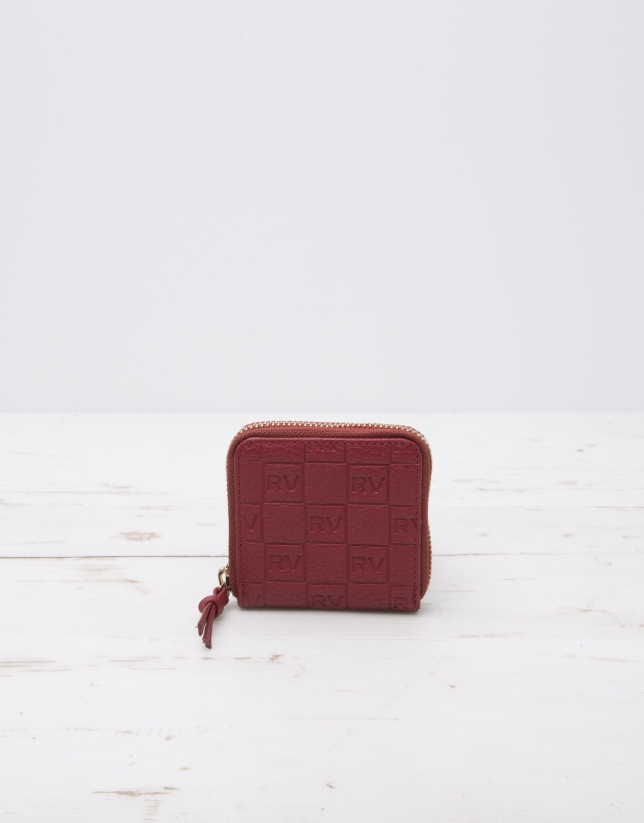 Red change purse with logo