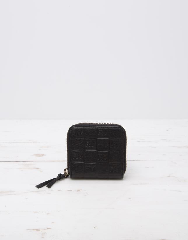 Black change purse with logo