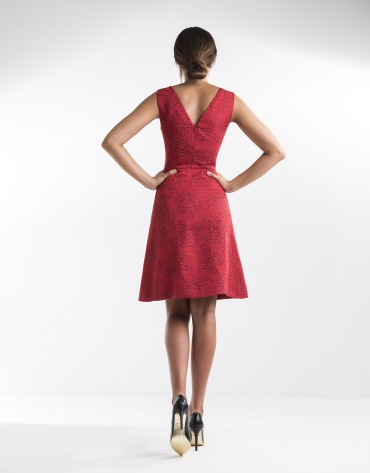 Red jacquard dress with full skirt