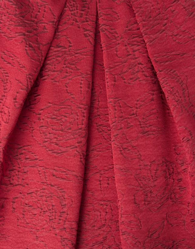 Robe à volant jacquard rouge