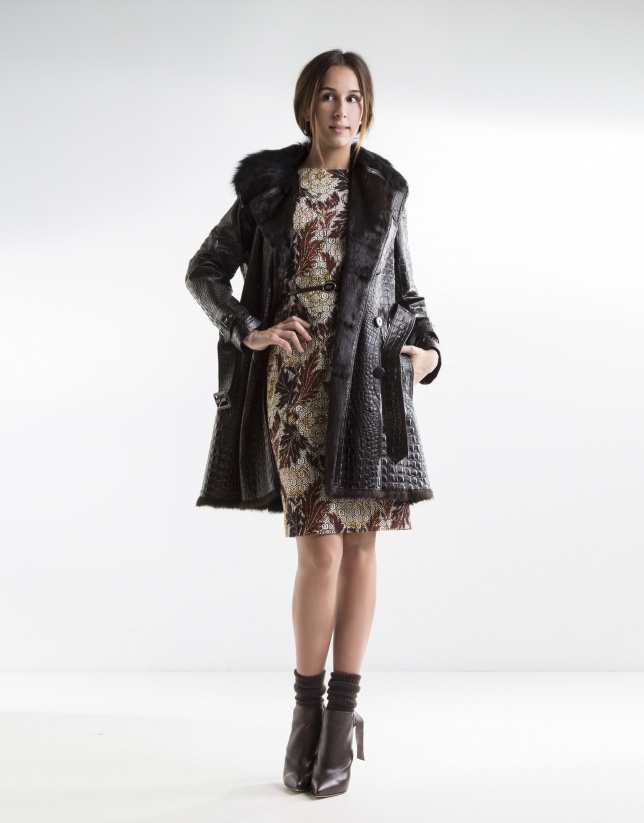 Dark brown and cocoanut trench coat