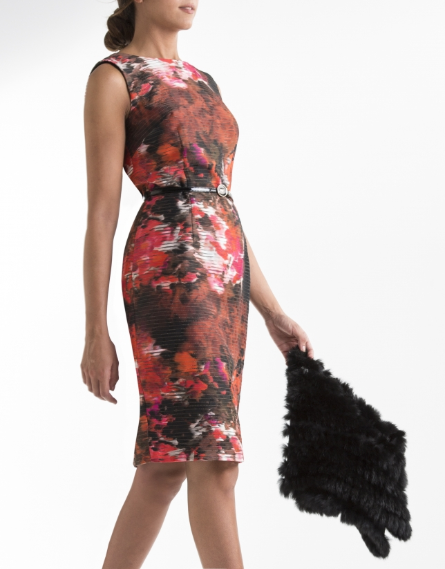 Red print straight dress