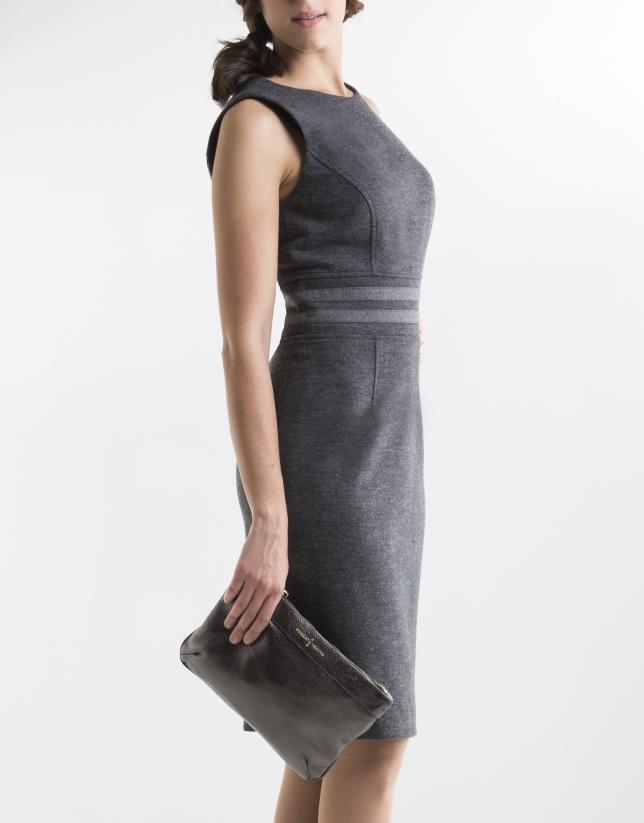 Vestido gris aplicación cintura