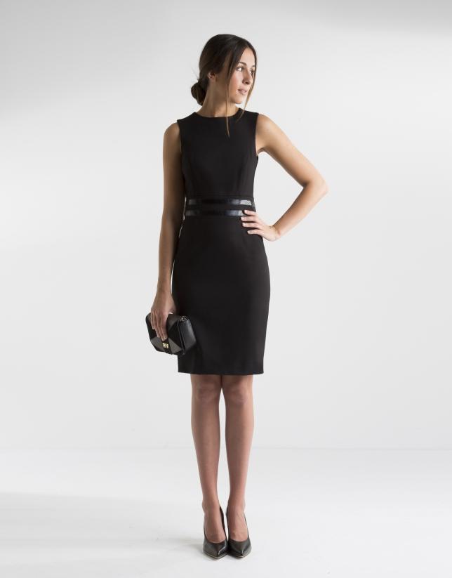 MujerRoberto Verino Cintura Vestido Negro Aplicación qRAjL354